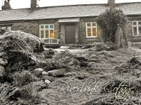 A frosty morning looking at the front of the cottage - Riverbank Cottage, Self Catering Holiday Cottage, Capel Curig, Snowdonia National Park, North Wales, UK, TheCanoeMan